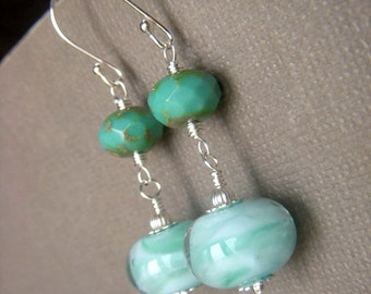 Seafoam Aqua Earrings, Minty Lampwork Earrings, Beach Jewelry, Sterling Lampwork Aqua Glass SRA Artisan Lampwork Dangle
