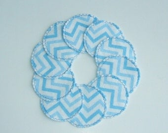 Reusable Cotton Rounds in Blue Chevron for use with Makeup Remover by Soft and Scrubby