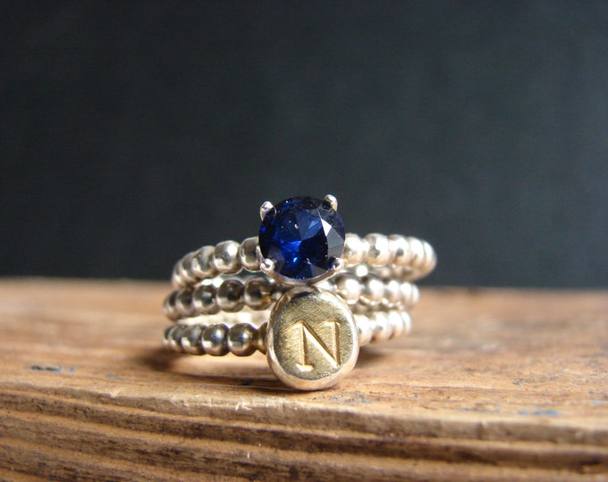 Monogram Ring Personalized Birthstone Initial Stack Ring Sapphire Gold Plated  Blue Jewelry September Personalized Jewelry