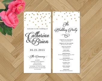 Printable Wedding Program, Calligraphy Wedding Program, Black and White Wedding Program, Gold Foil, Confetti