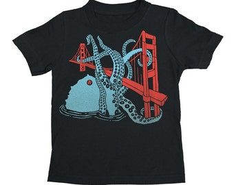 KIDS Shirt / San Francisco Octopus Golden Gate Bridge West Coast SF California Tshirt Tri Blend Toddler Youth T-shirt Boy Girl Children Tee