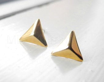 Pyramid Stud Earrings,Triangle Earring Posts,Golden Pyramid Earrings,Brass Jewelry,Sterling Silver Hypoallergenic Earrings (E237)