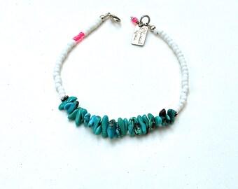 SALE, Turquoise Bracelet Delicate, Turquoise Boho jewelry, Gemstone Summer JEwelry, Beaded Friendship Bracelet
