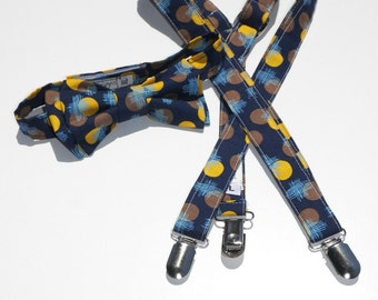 Ready to ship Boys age 9 to 11 years Blue and yellow Suspender and bow tie set