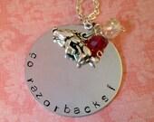 Hand Stamped University of Arkansas Go Razorbacks Necklace