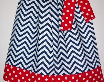 12m Patriotic Dress Pillowcase Dress Chevron Dress red white & navy 4th of July Dress red white and blue Fourth of July outfit Ready to Ship