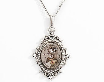Steampunk Ornate Victorian Frame Silver Necklace with Vintage Watch Movement and Sparkling Grey Swarovski Crystal by Velvet Mechanism