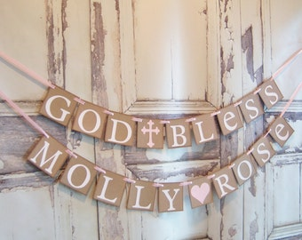 Baptism banner God Bless This Child personalized name Baptism Confirmation Decoration christening first communion