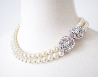 Bridal Pearl Necklace Wedding Pearl Jewelry Rhinestone Necklace Double Strand Pearl Necklce