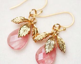 Pale Pink Earrings Cherry Quartz Earrings Pink and Gold Earrings Pink Leaf Earrings