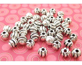 24 Ribbed Beads - 4mm Round - Silver Plated - Silver Spacer Beads - Metal Beads - DIY Jewelry - TS460B