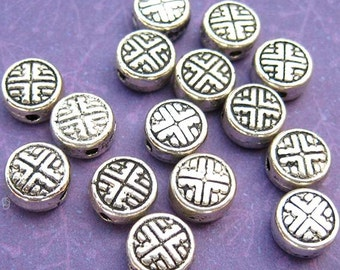 12 Disk Beads - Coin Beads - Silver Plated - Geometric Pattern - Round Beads - Metal Beads - DIY Jewelry -TS106B
