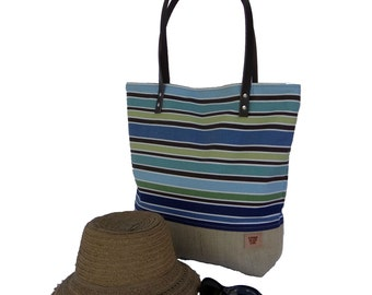 Large Blue Stripe Tote, Market Tote, Burlap Beach Bag, Summer Tote, Tote Bag, Stripe Bag, Beach Bag, Resort Bag, Burlap Tote