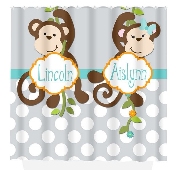 Monkey SHOWER CURTAIN Custom Monogram Personalized Monkey
