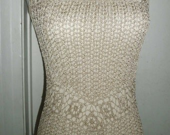 Vintage Crochet Long Rayon Dress, Nude Color, Lined, Small/Med.