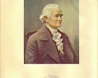 Noah Webster Portrait and Biography pages from a 1934 Dictionary to Frame or for Paper Arts PSS 2277