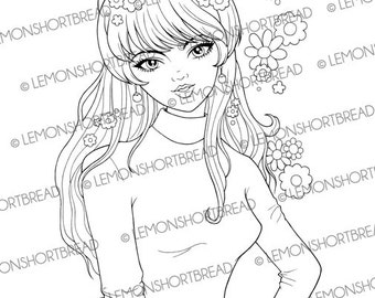 Digital Stamp 60s Rock and Roll Girl, Digi Download, Retro Mod Fashion Sixties, Flower, Coloring Page, Scrapbooking Supplies