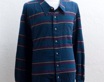 Men's Flannel Shirt / Vintage Striped Shirt by Harbor Sky / Size 4XL
