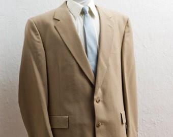 Men's Suit / XXL Vintage Blazer / Beige Jacket and Trousers/ Size 48