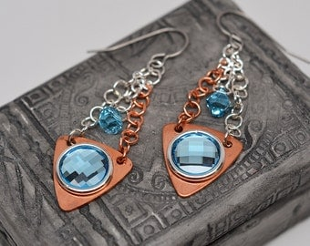 Copper & argentium silver with Aquamarine Swarovski crystal dangle chainmaille earrings
