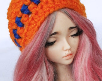 MSD clothes BJD Crochet Orange and Blue stripe slouchy beanie MonstroDesigns Ready to ship