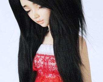 "MSD BJD Doll wig minifee 7"" Black long in front fake fur wig MonstroDesigns"