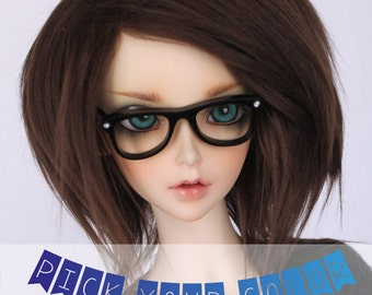 "BJD Doll dollfie wig 8-9 SD wig BJD 8.5"" short Pick Your Color fake fur wig MonstroDesigns"