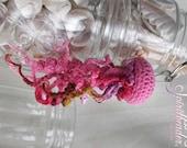 Pink Natural Moon Crochet Jellyfish Keychain Zipper Pull Purse Charm 003