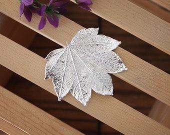 Silver Maple Leaf Pin, Brooch, Maple Leaf, Real Leaf Pin, Leaf Brooch, Sterling Silver Leaf, BROOCH13