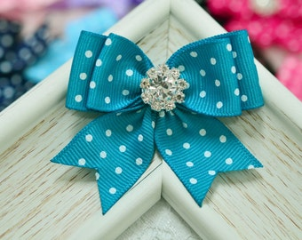 New Ribbon Bows! Set of 2pcs handmade Grosgrain Dots Bows--turquoise (GR1151)
