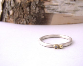 Gold Bezel Diamond Silver Stackable Ring Round Ball Hammered Band 18 Karat Gold Luxe Artisian Jewelry Metalsmith