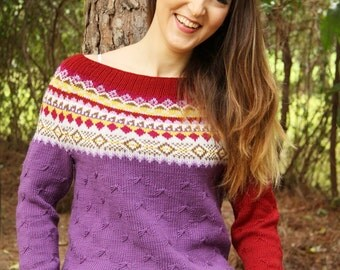 PDF knitting pattern, knitted jumper, pullover, knitted sweater,womens knitted jumper,knitted sweater pattern,fair isle pattern women,yoke