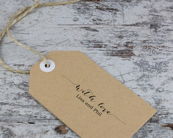 Custom Wedding Favor Rubber Stamp  - calligraphy style font, stamp thank you notes, favor tags - With Love design