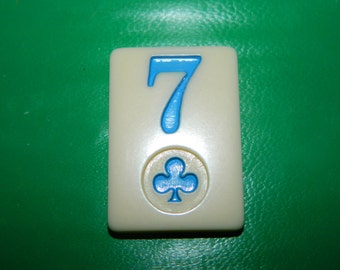 Vintage Rummy Game Piece 7 of Clovers, St.Patricks Day Game Chip, Resin, Jewelry Supplies, Craft, Mixed Media, Number 7 Seven, CLOVER