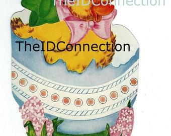 Vintage 1950's Easter Duckling Greeting Card Digital Download, Easter Egg, Easter Bonnet, Mixed Media, Altered Art