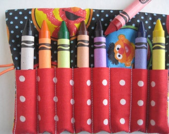 TODDLER SIZE Crayon Roll Wallet Sesame Street  Includes 8 Large Crayons