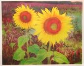 Sunflowers morning pinks, 16x20 inches, Sunflowers and pink grasses, dawn fields, flowers, flower fields, wall art, art, original art