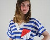 Nautical Dress • Striped Dress • Summer Dress • Sailor Dress • Nautical Striped Dress • 80s Sundress • 80s Dress • Vintage 1980s Dress