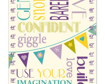 Twins Growth Chart / Ruler / Measure/ Childrens Wall Art- Subway Kid's Rules-  May be Personalized