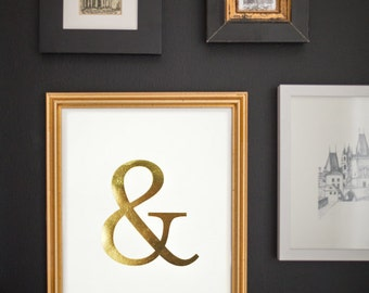 Gold Foil Ampersand Print - Typography Poster - Ampersand Sign - Ampersand Wall Art - Home Decor - 8x10, Gold on White