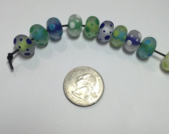 Ocean - Blues Greens Round Etched Polka Dot Lampwork Beads