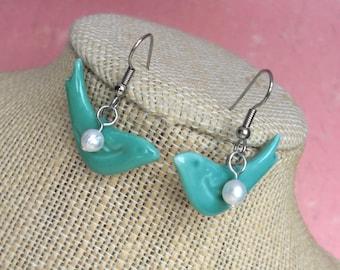 Bluebird of Happiness .. Sweet Pair of Love Birds, Handmade Ceramic Bluebirds, Fresh Water Pearls, Gift Box. Seafoam Green Rustic Teal Ocean