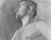 Original Male Life Drawing in Graphite - Portrait Study of Will