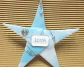 """LOVE Inspirational Gift/ Fused Glass Valentine """"Wishing Star"""" in Turquoise by Susan Faye"""