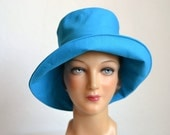 Retro Sun Hat in Cotton Canvas - Women's Beach Hat - READY TO SHIP via 3 Day Priority