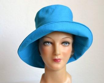 ON SALE - Retro Sun Hat in Cotton Canvas - Women's Beach Hat