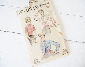 Vintage 1950s Pattern -Blouse - Tailored  34 Bust- Advance 6686