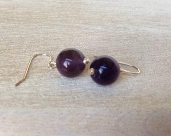 Sterling Silver & Amethyst Gemstone Simple Chunky Earrings Dangle Drop Earrings Handmade Jewelry