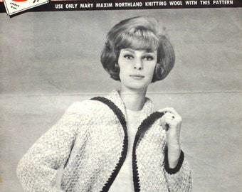 Mary Maxim Sweater Jacket Knitting Pattern in a Basket Stitch 528