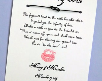 English Tea Party - A Wedding Wish - Infinity Knot Wish Bracelet Wedding Favor Custom Made for You